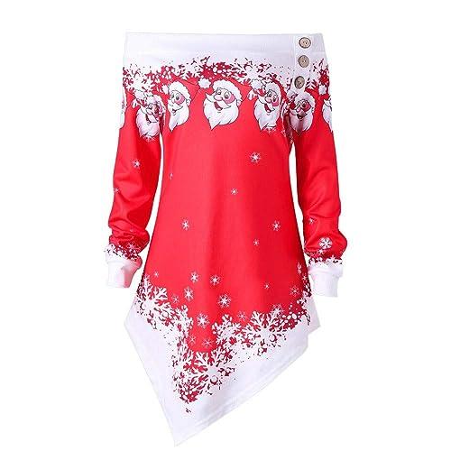 6cd128e81717e8 NUWFOR Women Christmas Santa Snowflake Printed Tops Off Shoulder Asymmetric  Sweatshirt