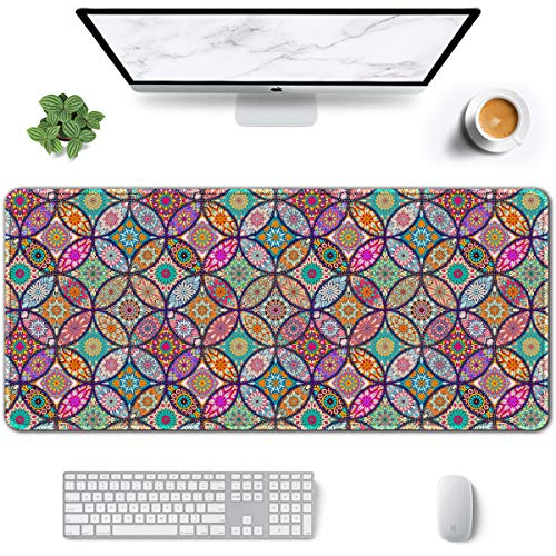 Auhoahsil Large Mouse Pad, Full Desk XXL Extended Gaming Mouse Pad 35' X 15', Waterproof Desk Mat with Stitched Edges, Non-Slip Laptop Computer Keyboard Mousepad for Office and Home, Mandala Design