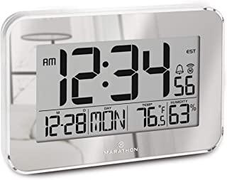 Marathon Atomic Wall Clock with Alarm, Snooze, and Table Stand Easy to Read Date, Temperature and Humidity. 8 Time Zones. Batteries Included. Color-Mirrored. SKU-CL030060SV (Renewed)