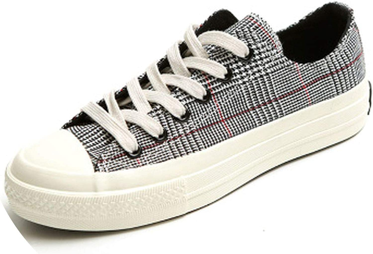Women Canvas shoes Lattice Style Classic Plaid Cloth shoes for Female Lace Up Fashion Trends