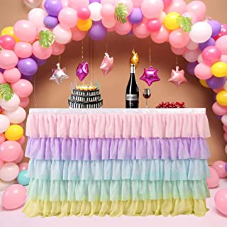 6FT Rainbow Table Skirt for Rectangle or Round Table Chiffon Tulle Table Skirting for Party Baby Shower Wedding Birthday Decor