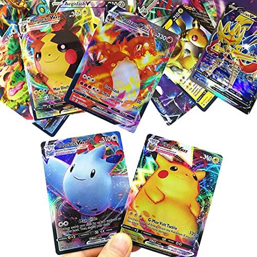 RULY - Juego de cartas Pokémon GX V VMAX, coleccionables, para batallas interactivas, regalo para niños, 100 unidades (40 cartas VMAX + 60 cartas V, versión inglés)