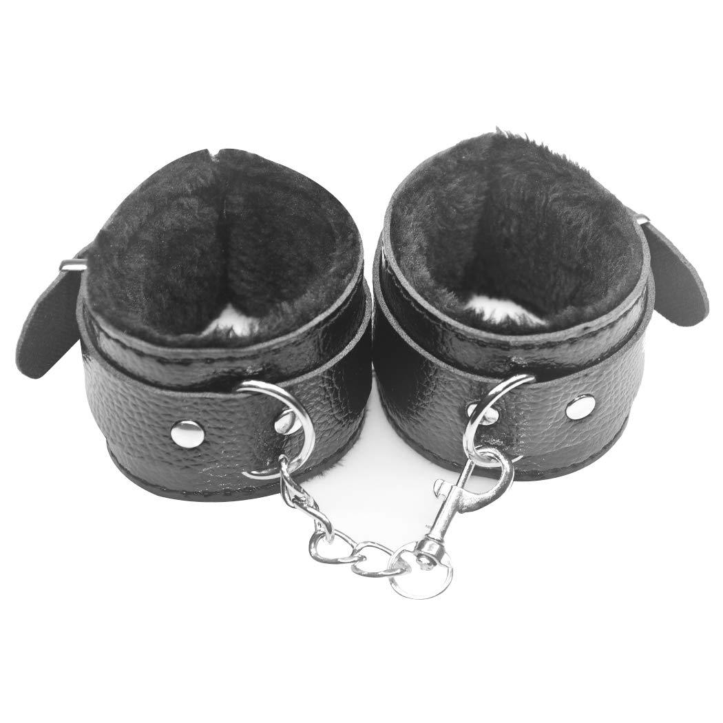 Hxiu Black Handcuffs Plush Leather Wrist Adjust Hand Cǔffs Brand new Limited price sale