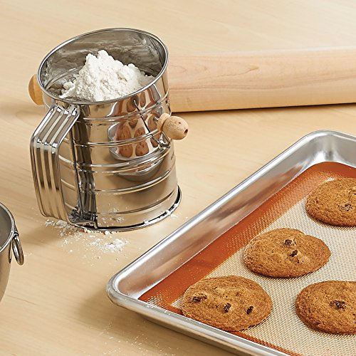Mrs. Anderson's Baking Hand Crank Flour Icing Sugar Sifter, Stainless Steel, 3-Cup