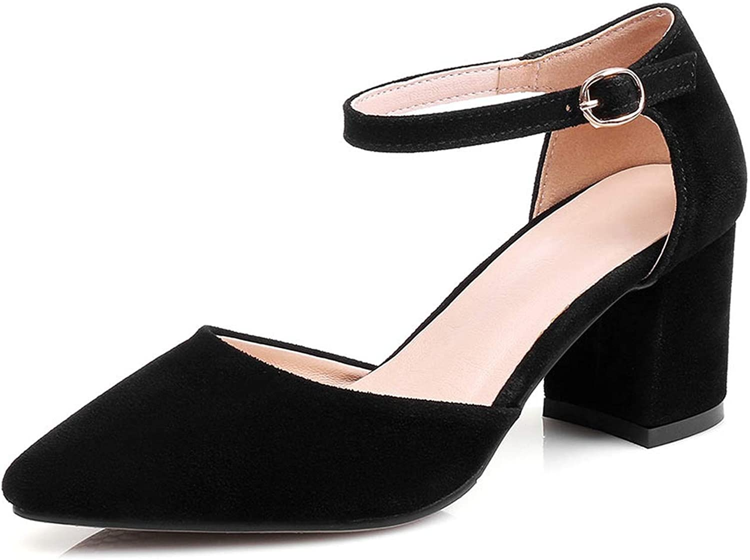 QianQianStore Summer Casual Block Heels Pumps Flock Square Med Heels shoes Pointed Toe Buckle Strap Sandals shoes