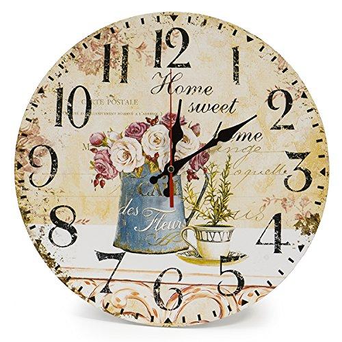 LOHAS Home Reloj de pared redondo, de madera, con diseño vintage, silencioso, de 30 cm