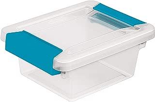 STERILITE 19698606 Mini Clip Box Clear Base & Lid Blue Latches, Multi
