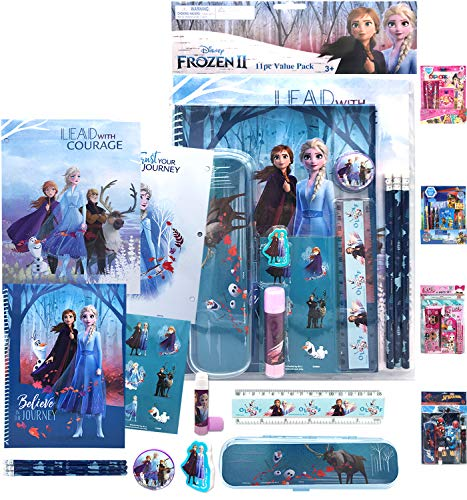 Disney Frozen 2 Deluxe All You Need for School Stationery Gifts Set - Pencils, Eraser, Notebook, Pencil Case, Ruler, Folders, Back to The School Kindergarten Education Goodies Supplies for Kids Girls