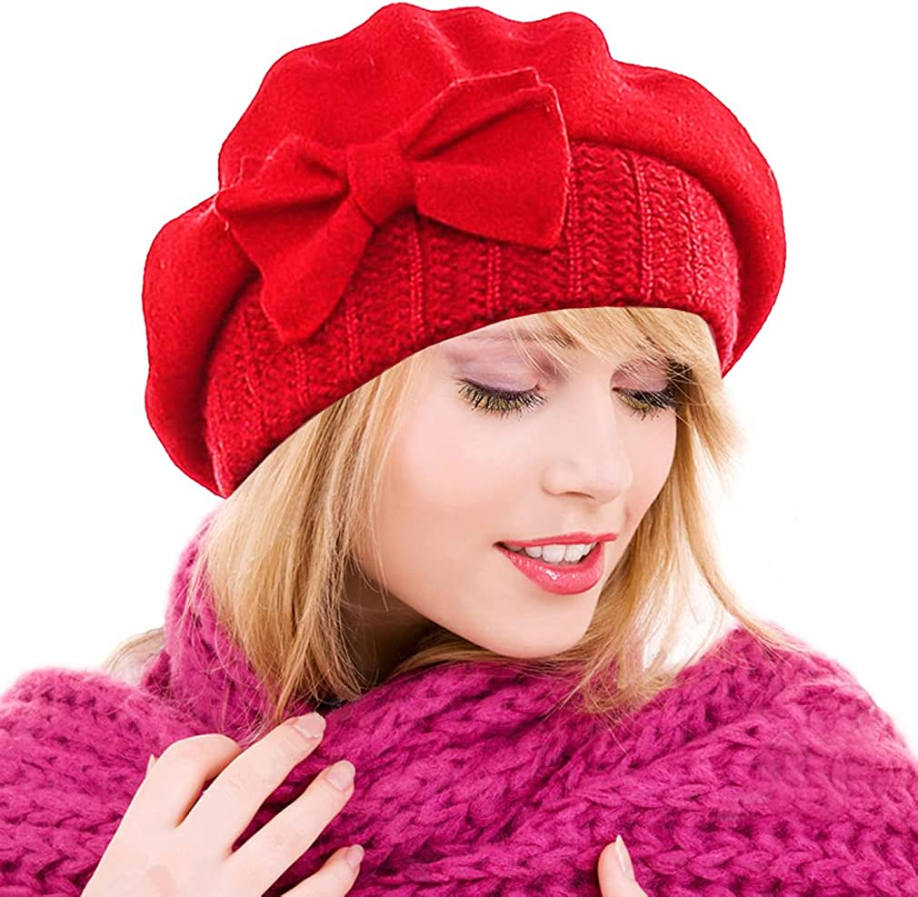 Ruphedy Women Beret Beanie Winter Chic Wool French Beret Church Dress Hats Hy022