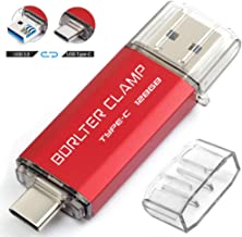 128GB Type C USB 3.0 Dual Port Flash Drive, BorlterClamp USB C OTG Memory Stick for Android Smartphones Samsung Galaxy S9/S8/Note 9, LG, Tablets & Computer (Red)