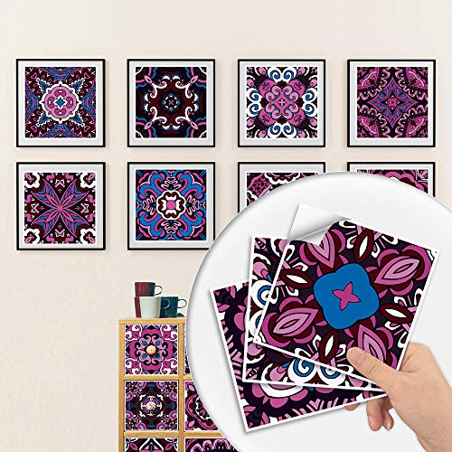 Pegatinas para azulejos Adhesivos para azulejos estilo mosaico Calcomanías resistentes al agua y aceite Autoadhesivas de PVC- Arte de decoración de pared(Patrón C 15CM X 10CM X 10PCS)
