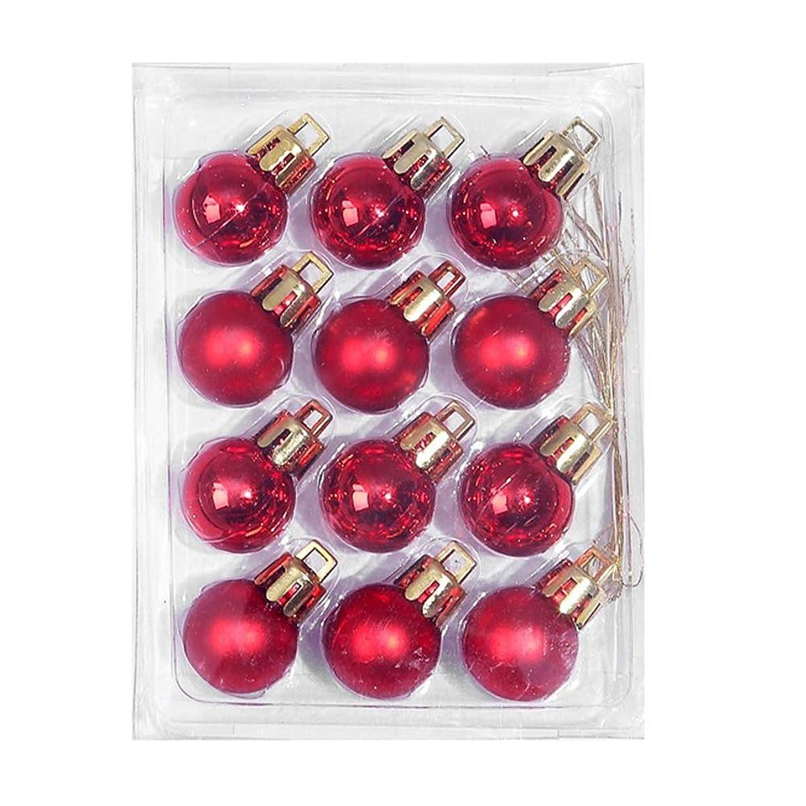 醸造所豪華な巨人クリスマスカラーボールクリスマスツリーディスプレイPVCボールクリスマスデコレーションギフトペンダント2cm12箱入り(ワインレッド)