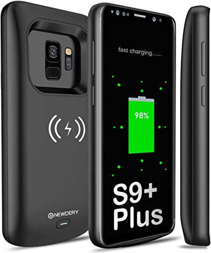NEWDERY Upgraded Samsung Galaxy S9 Plus Battery Case Qi Wireless Charging Compatible, 5200mAh Slim Rechargeable Exten...