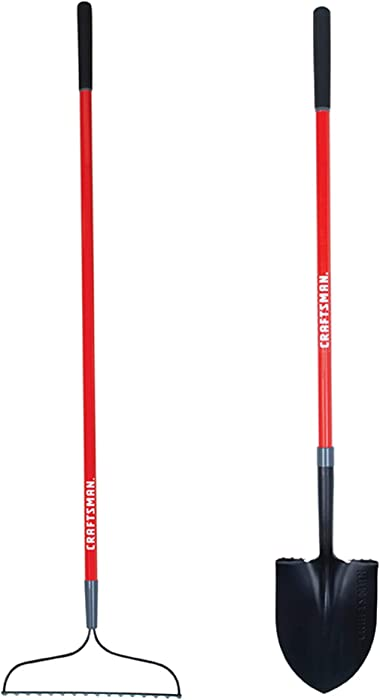 Craftsman CMXMKIT0010 2-Piece Long Fiberglass Handle Garden Tool Set with Digging Shovel and Bow Rake, Red