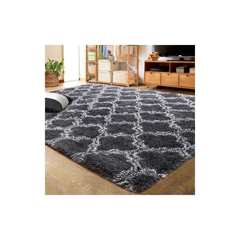 silk flower arrangements lochas luxury velvet shag area rug modern indoor plush fluffy rugs, extra soft and comfy carpet, geometric moroccan rugs for bedroom living room girls kids nursery, 5x8 feet dark grey/white
