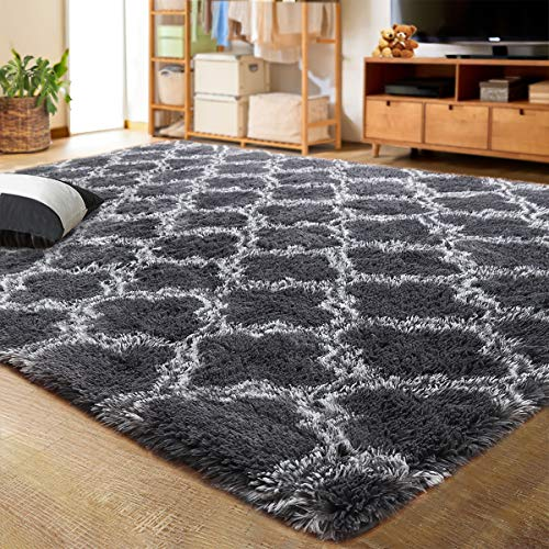 LOCHAS Luxury Velvet Shag Area Rug Modern Indoor Plush Fluffy Rugs, Extra Soft and Comfy Carpet, Geometric Moroccan Rugs for Bedroom Living Room Girls Kids Nursery, 4x5.9 Feet Dark Grey/White