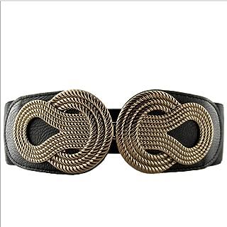 LUKEEXIN Women Amoy Dress Accessories Waist Belt Ancient Knitted Weave Wide Belt Leather Female Elastic Belt (Color : Black)