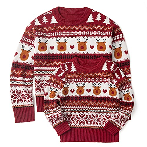 Simplee kids Ugly Christmas Sweater Family Matching Outfits for Holiday Party Knitted Pullover for Winter