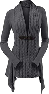 Womens Cable Knit Buckle Asymmetrical Long Cardigan V-Neck Open Front Sweater