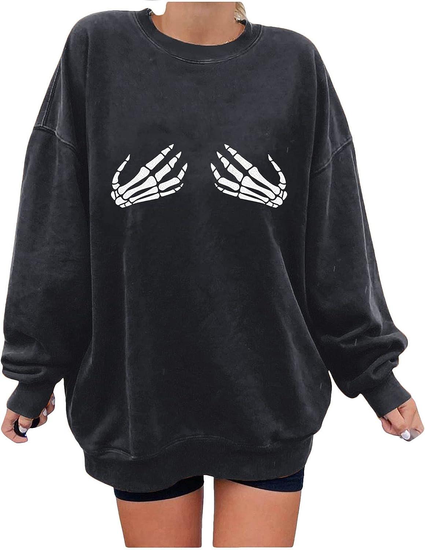 Womens Halloween Skeleton Hands Printed On Boobs Graphic Sweatshirts Long Sleeve Crew Neck Tops
