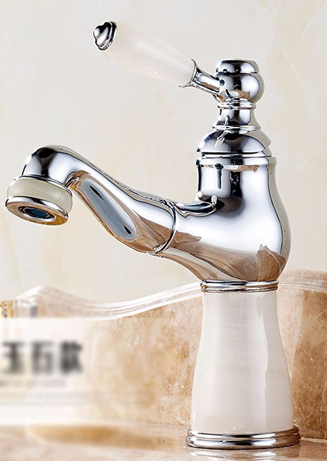 LHbox Basin Mixer Tap Bathroom Sink Faucet European style, copper, jade, out of the bathroom, Single Hole basin, hot & cold water taps, 9
