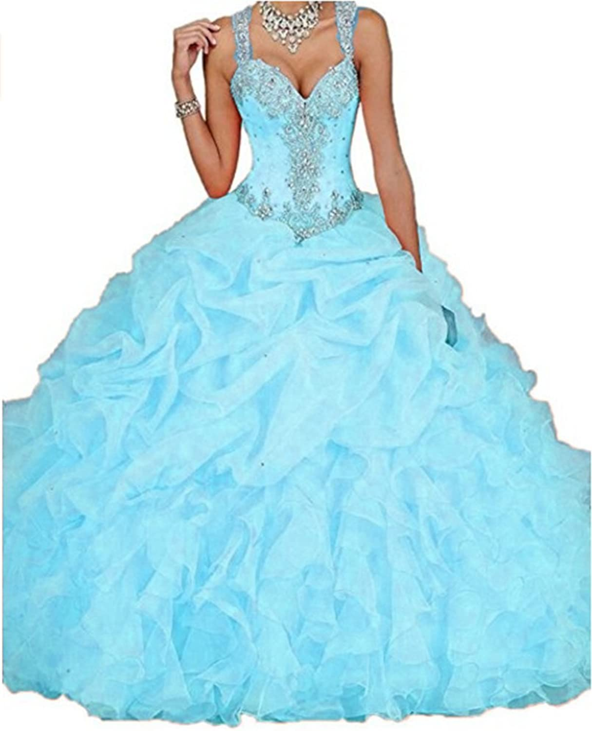 ANGELA Women's Sweetheart Organza Ball Gown Prom Quinceanera Dresses