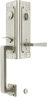 Arts & Crafts Style Tubular Handleset in Satin Nickel with Left Hand Hammered Levers and 2 3/8