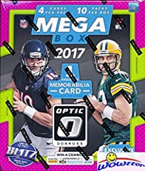 2017 Donruss Optic NFL Football HUGE Factory Sealed MEGA Box with 10 Packs! Includes EXCLUSIVE MEMORABILIA Card and TEN(10) EXCLUSIVE Red & Yellow ROOKIE Parallels! Look for RC's & Autographs of Deshaun Watson, Mitch Trubisky, Leonard Fournette, Alvi...