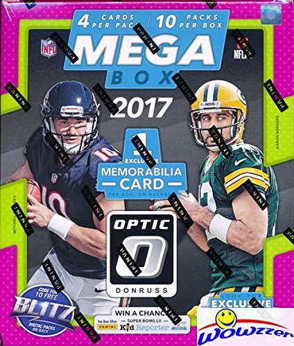 2017 Donruss Optic NFL Football HUGE Factory Sealed MEGA BOX with 10 Packs including EXCLUSIVE MEMORABALIA Card & 10 EXCLUSIVE Red & Yellow ROOKIE PARALLELS! Loaded! WOWZZER!