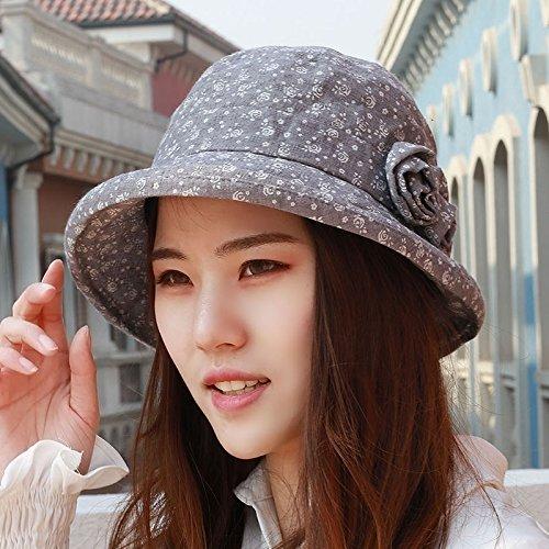 SAIBANGZI Le Printemps et l'été la Mode féminine Pot Hat Old Fisherman's Hat Mama Hat SUNCAP SUNCAP Crème Solaire Crème Solaire Chapeau 54-58cm Taille (54-58cm) Gris réglable