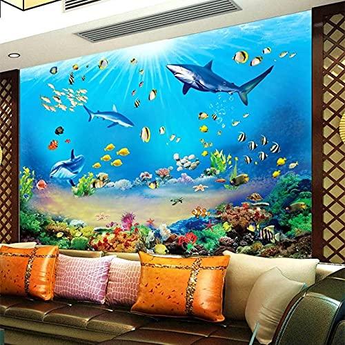 Fotomural Mira El Fondo Fondo De Pantalla Personalizado Hd Mundo Submarino Tiburón Peces Tropicales 3D Mural Acuario Sala De Estar Tv Niños Dormitorio Telón De Fondo-200_X_140Cm
