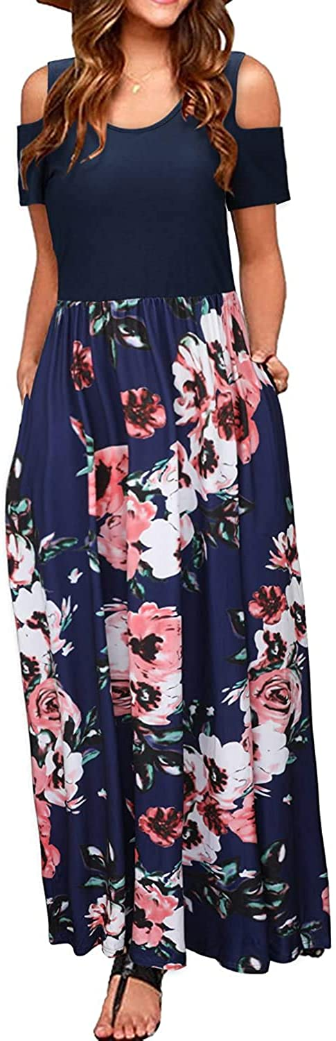Kancystore Women's Short Max 57% OFF Sleeve Max 82% OFF Floral Dresses Maxi Cold Shoulde
