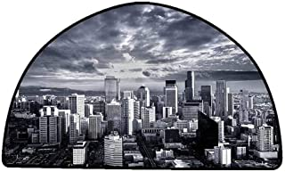 Bathroom Floor mats Wanderlust Decor Collection,Seattle Cityscape Business Buildings Skylines Dark Clouds Sunset Artistic Image Print,Dark Gray,W47 x L31 Half Round Durable Rubber Floor Mat