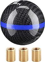Fydun 6 Car Speed Shift Knob Universal Manual Carbon Fiber Gear Shift Knob Head Shifter Head Black (black with blue line)
