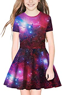 TENMET Girl's Dress 3D Galaxy Unicorn Print Short Sleeve Swing Skirt Casual Kids Party Dress 8-11Y