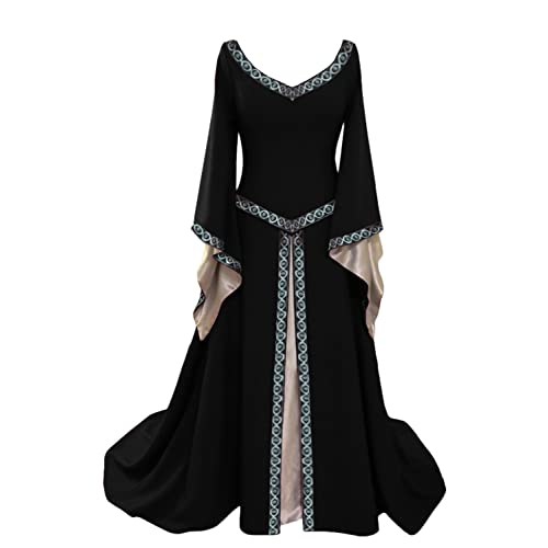 Prettycos Women Halloween Medieval Victorian Queen Costume V-Neck Flared  Sleeves Fancy Dress Costume 82b60717ace9