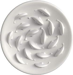 Roomingcare 早食い防止食器 猫犬フードボウル 金魚揺らめくペット皿 スローフード 滑り止め 肥満防止 小中型犬猫向き ゆっくり食べる食器 食洗機対応 22cm (白色)