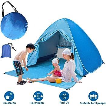 YOMYM Tenda da Spiaggia, Tenda Mare Pop Up Portatile con Protezione Solare UPF 50+ per 2-3 Persone, Custodia Inclusa e Mat