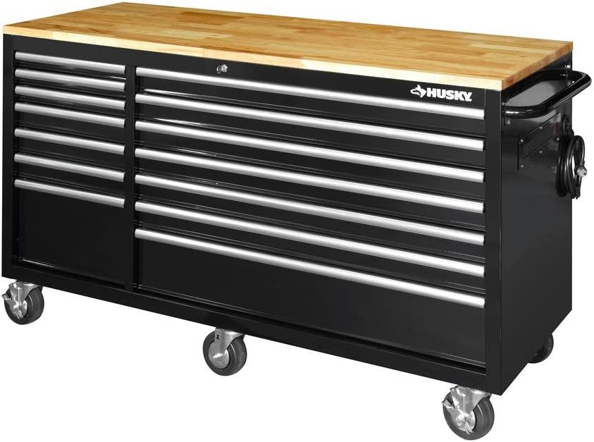 Husky 62 in. 14-Drawer Free shipping / New Mobile Workbench Top Max 67% OFF Bla Wood with Solid