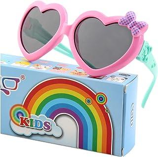CGID Soft Rubber Kids Cute Heart Polarized Sunglasses...