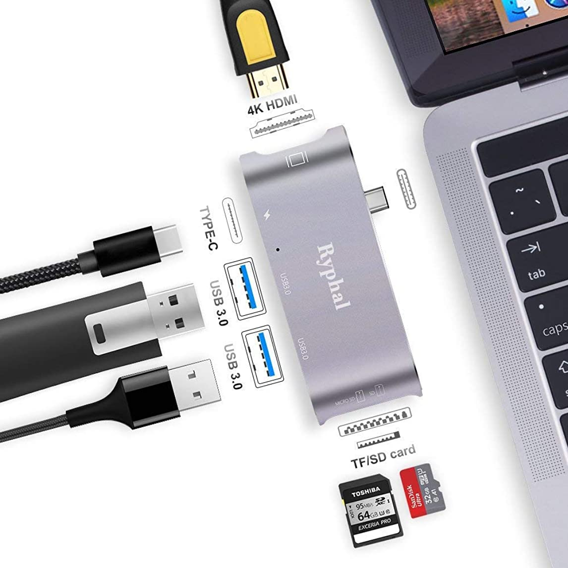 USB C Hub Ryphal MacBook Adapter 6-in-1 Type-C 3.1 USB C Adapter with 2 USB-C 3.0 Ports,SD/TF Card Reader,HDMI Port&PD Charging Port for MacBook Pro, etc (Space Grey) bvnr0888944757