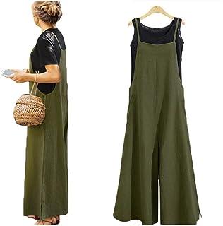 86fd9e8426b Women's Loose Linen Suspender Trousers Wide Leg Overalls Jumpsuit Romper  Harem Pants Plus Size