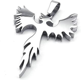jonline24h Stainless Steel Phoenix Bird Firebird Pendant Biker Mens Necklace, 18-26 inch Chain