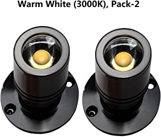 iPHD Led Spotlight Mini 1W Adjustable Jewelry Cabinet Fixture with 110V Transformer Warm White 3000K Pack-2 (Black)