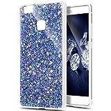Uposao Compatible con Huawei P9 Lite Transparente Funda Bling Glitter Brillante Brillo Funda Carcasa Glitter Cristal de Lusso Diamante Purpurina Funda Silicona Anti Choque Funda Protectora