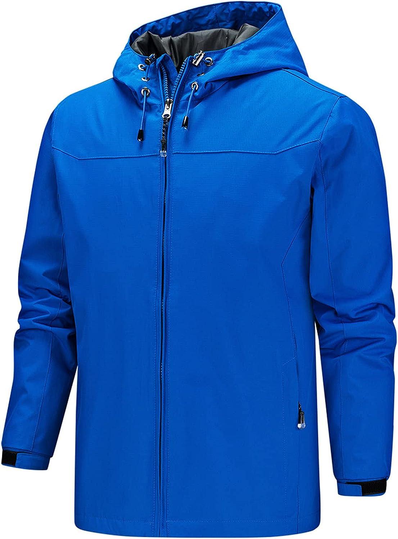Hooded Coat for Men's Waterproof Coat Long Sleeve Zipper Lightweight Windbreaker Plain Loose Outdoor Jacket