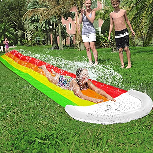 AMENON 14 FT Lawn Water Slides, Rainbow Slip Slide Play Center with Splash Sprinkler and Inflatable Crash Pad for Kids Children Summer Backyard Swimming Pool Games Outdoor Water Toys