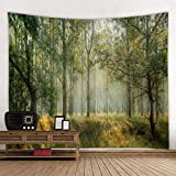 KHKJ Misty Forest Tree Printed Large Tapestry Cheap Hippie Wall Hanging Bohemian Tapestries Mandala Wall Art Decor A1 200x150cm