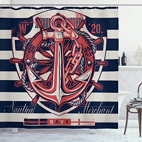 ABAKUHAUS Anker Duschvorhang, Marine-Symbol-Entwurf, Seife Bakterie Schimmel & Wasser Resistent inkl. 12 Haken & Farbfest, 175 x 200 cm, Beige Indigo Red