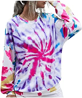 HEFASDM Womens Floral Tie Dye Pullover Fall Winter Round Neck Tunic Top